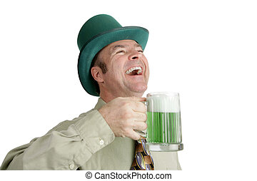 St Patricks Day Laughter - An Irish man on St Patricks Day,...
