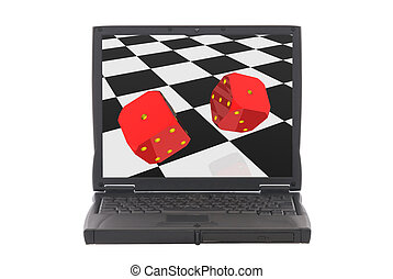 Two rolling dice, online gambling - Illustration, background...