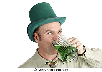 St Patricks Day Drinking - A handsome Irish American man...