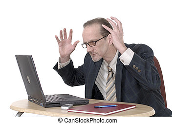 Dissapointed Businessman working on laptop - Workaholic,...