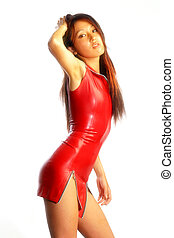 Sexy Japanese woman dressed in tight latex. - A sexy young...