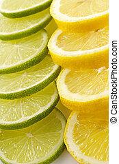 Citron allsorts-lime, lemon,cut on slices and laid out for...