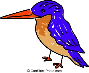 kingfisher bird isolated on white drawn in toddler art style