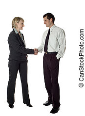 couple - young business couple handshaking on white