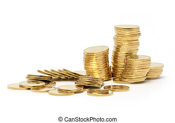 Coins - A lot of golden coins on white