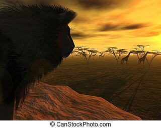Lions Dinner - 3d-render of a lion on hunt