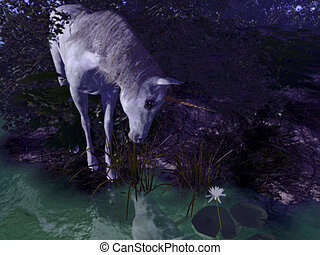 Lost In Despair - 3d-render of an unicorn - moonlight...