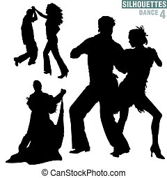 Silhouettes Dance 04 - High detailed black and white...