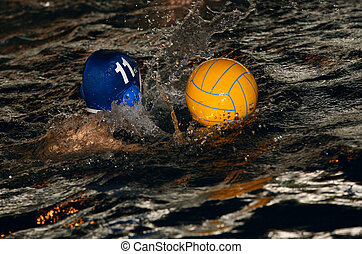Water-polo - The floating child and ball in water with...