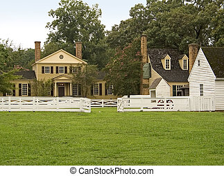 Colonial Village - A group of old colonial buildings and...