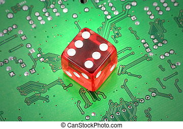 online gambling - red dices and circuit board, concept of...