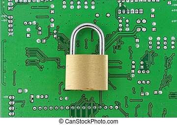 online safety - lock and circuit board, concept of online...