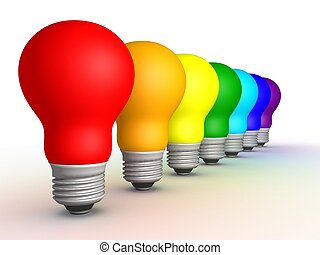 Bulb row 2 - Colored bulbs in a row on a white background,...