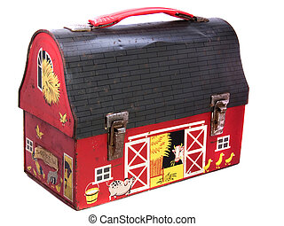1950s Lunchbox - Vintage all metal child\\\'s lunchbox in...