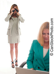 Corp Espionage 3 - Business woman using binoculars to spy on...