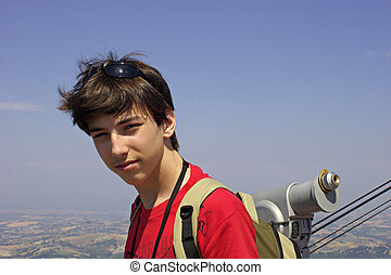Teenager. - Teenager on a viewing platform.