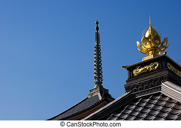 Temple Rooftops - Ornate temple roof of Kiyomizu Temple in...