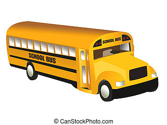 School Bus, object isolated, school series, illustration