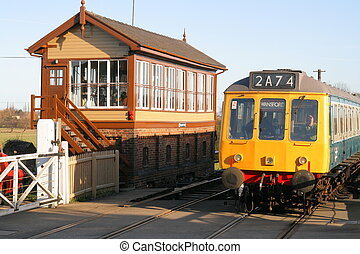 Vintage Train - DMU Diesel Train and Signal Box on a...