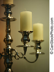 Candles - The not lit candles in ancient gold candelabrum