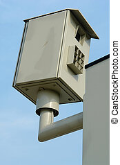 Speed camera - Inconspicuous roadside speed trap camera in...