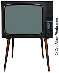 Retro TV - Vintage BW television with no remote control and...