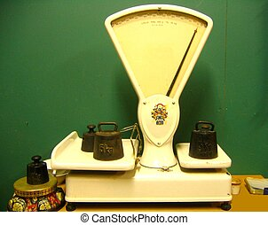 Old scales with weights measured in kilos