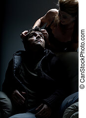 more than words - dark mood intimate picture of couple in...