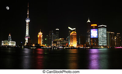 Shanghai Pudong - Beautiful night scene in Shanghai.
