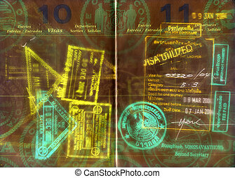 passport - hi res scan of a us passport with asian visa,s