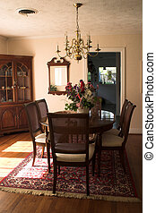 Colorful Dining Room - dining room table and chairs with...