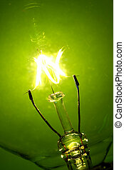 light bulb glow - Light bulb glowing on a green background