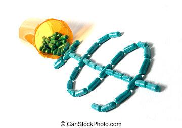 Pilld spilling $ Trq - medicine spilling onto white table...