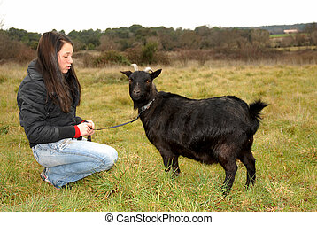 teen and goat