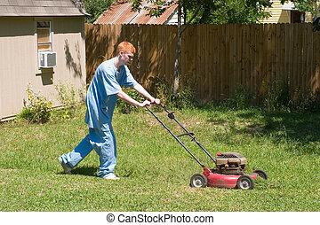 Teen Mowing Lawn 4