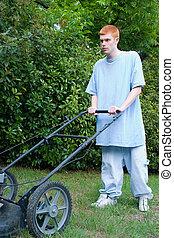 Teen Mowing Lawn 1