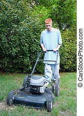 Teen Mowing Lawn 2