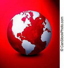 World globe illustration. Used blue background.
