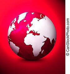 World globe illustration. Used red background.