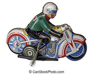 estaño, juguete, motocicleta, 2