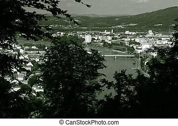 View on Linz, Austia - View from a hill Freinberg through...