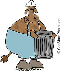 Garbage Cow - This illustration depicts a cow in coveralls...