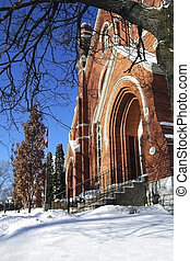 Treed Entrance - Entrance to a local church in winter
