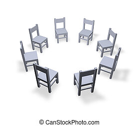 meeting - 8 chairs are located in the circle