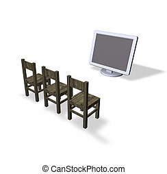 presentation - three chairs and a computer monitor