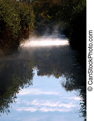 Steam rising from Creek - Early Morning Steam rising from...