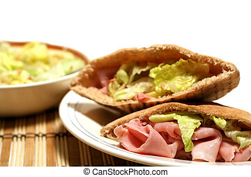 Ham On Pita - Boiled ham sandwich with lettuce in pita bread...