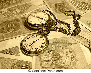 Old picture - Two clock on to money