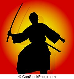 Samurai - Coloured background and Samurai silhouette.
