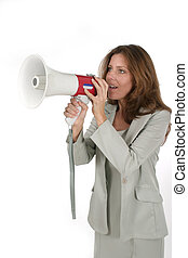 Woman w/Megaphone 1 - Attractive young executive business...